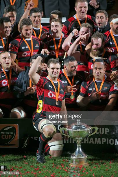 Luke Whitelock of Canterbury celebrates with team mates after the final of the Mitre 10 Cup Premiership Final match between Canterbury and Tasman at...