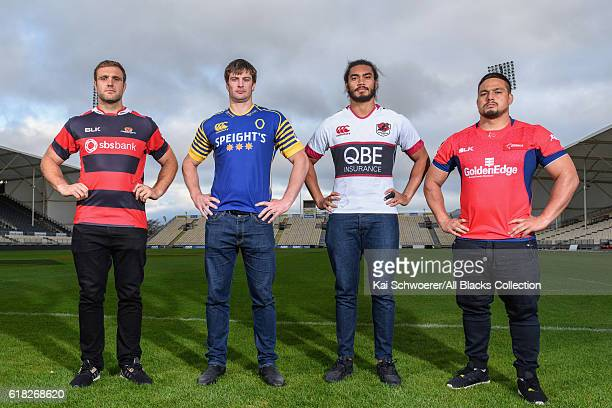 Luke Whitelock of Canterbury Paul Grant of Otago Chris Vui of North Harbour and Kane Hames of Tasman pose during a Mitre 10 Cup Final media...