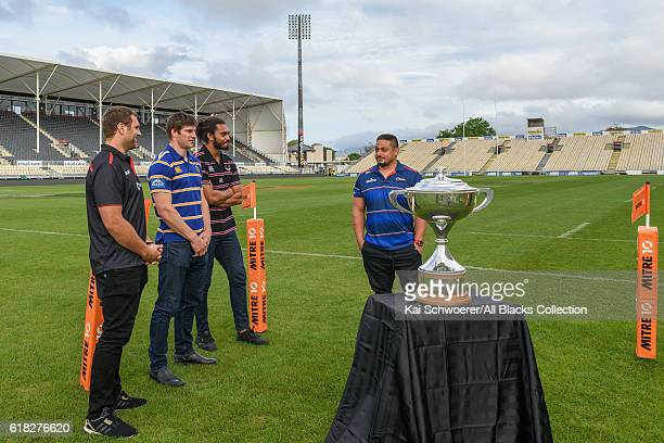 Luke Whitelock of Canterbury Paul Grant of Otago Chris Vui of North Harbour and Kane Hames of Tasman look on during a Mitre 10 Cup Final media...