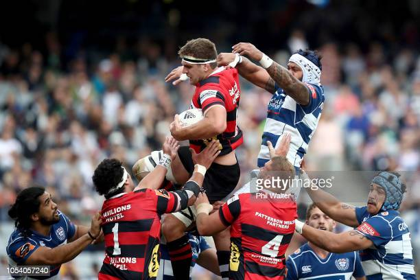 Luke Whitelock of Canterbury takes the ball in the lineout during the Mitre 10 Cup Premiership Final match between Auckland and Canterbury at Eden...
