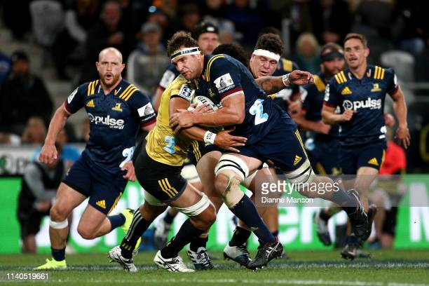 Luke Whitelock of the Highlanders charges forward during the round 8 Super Rugby match between the Highlanders and Hurricanes at Forsyth Barr Stadium...