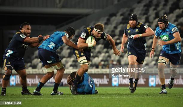 Luke Whitelock of the Highlanders during the round 10 Super Rugby match between the Highlanders and the Blues at Forsyth Barr Stadium on April 20...