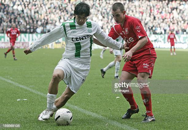 Luke Wilkshere Luis Suarez during the match between FC Groningen and FC Twente on March 18 2007 at Groningen Netherlands