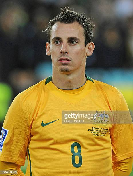 Luke Wilkshire from the Australian Socceroos poses prior to the start of the World Cup Asian football qualifier against Bahrain in Sydney on June 10,...