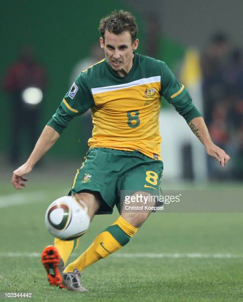 Luke Wilkshire of Australia kicks the ball during the 2010 FIFA World Cup South Africa Group D match between Australia and Serbia at Mbombela Stadium...