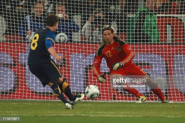 Luke Wilkshire of Australia scores the second team goal with free kick during the international friendly match between Germany and Australia at...