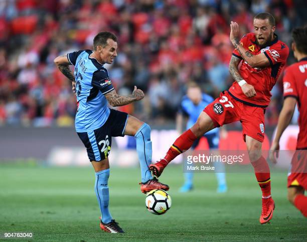 Luke Wilkshire of Sydney FC and Daniel Adlung of Adelaide United during the round 16 ALeague match between Adelaide United and Sydney FC at Coopers...