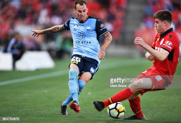 Luke Wilkshire of Sydney FC and Ryan Strain of Adelaide United during the round 16 ALeague match between Adelaide United and Sydney FC at Coopers...