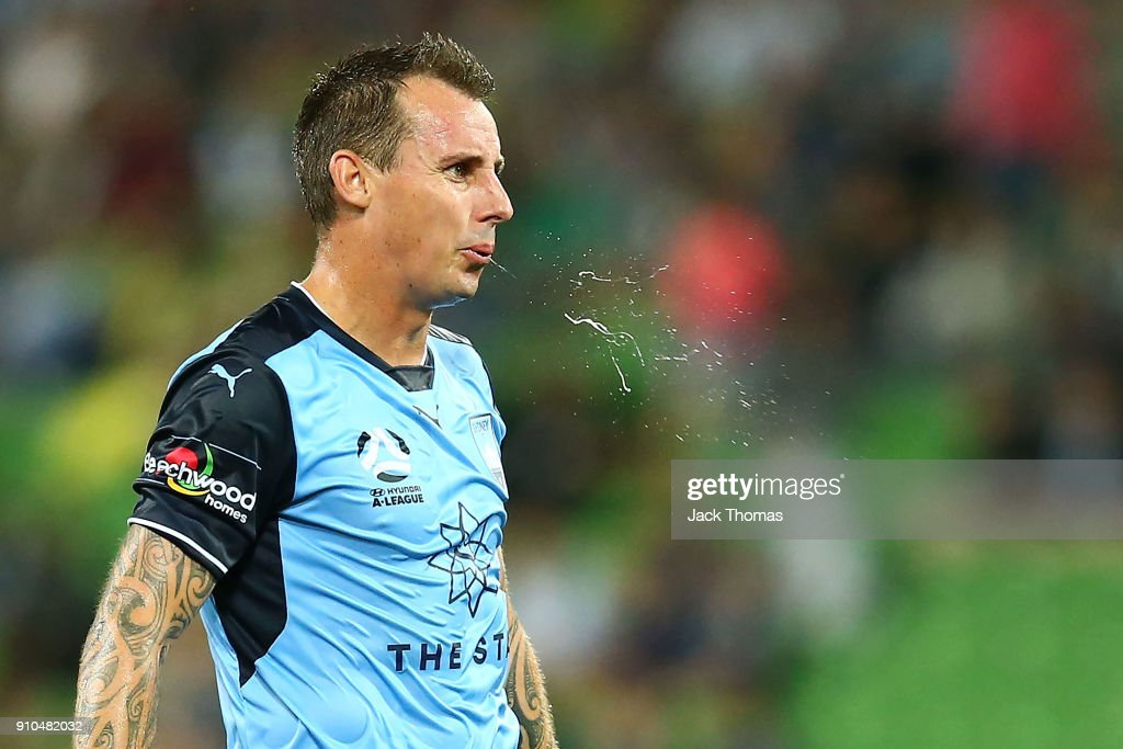 Luke Wilkshire of Sydney FC reacts during the round 18 A-League match between Melbourne Victory and Sydney FC at AAMI Park on January 26, 2018 in Melbourne, Australia.