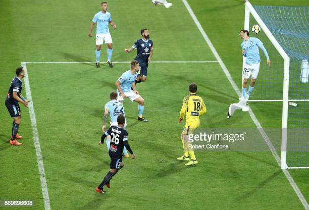 Luke Wilkshire of Sydney FC scores during the round five ALeague match between Melbourne City FC and Sydney FC at AAMI Park on November 3 2017 in...