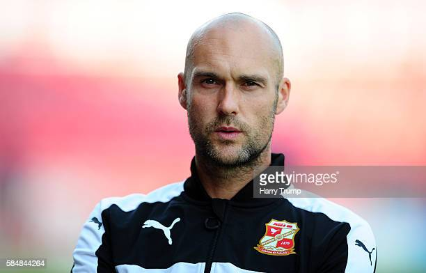 Luke Williams Manager of Swindon Town during the Pre Season Friendly match between Swindon Town and Swansea City at the County Ground on July 27 2016...