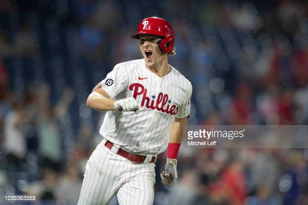 Luke Williams of the Philadelphia Phillies reacts after hitting a walk-off two run home run in the bottom of the ninth inning against the Atlanta...