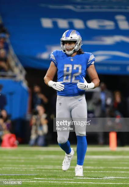 Luke Willson of the Detroit Lions in game action against the New England Patriots at Ford Field on September 23 2018 in Detroit Michigan