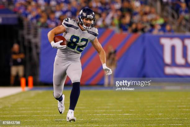 Luke Willson of the Seattle Seahawks in action against the New York Giants on October 22 2017 at MetLife Stadium in East Rutherford New Jersey The...