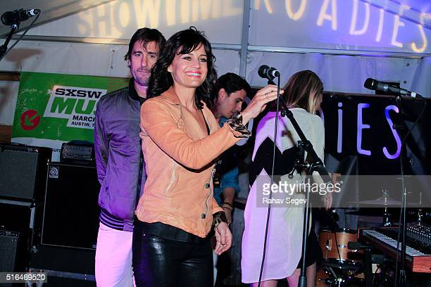 Luke Wilson and Carla Gugino attend SHOWTIME Roadies House at SXSW 2016 at Clive Bar during SXSW 2016 on March 18 2016 in Austin Texas