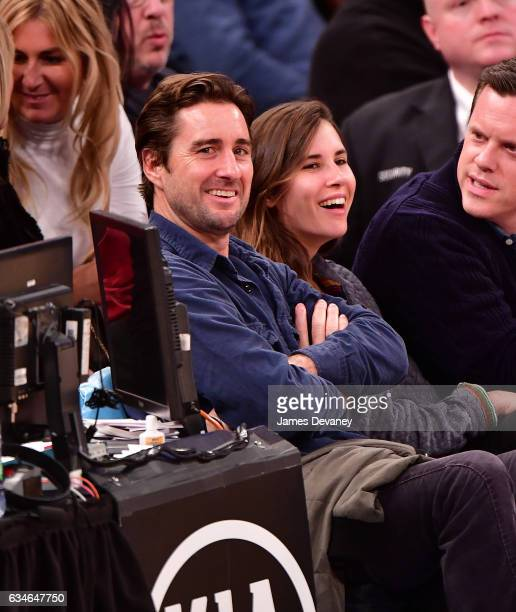 Luke Wilson and guest attend the Denver Nuggets Vs New York Knicks game at Madison Square Garden on February 10 2017 in New York City