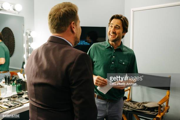 Luke Wilson chats in the green room with James Corden during 'The Late Late Show with James Corden' Tuesday February 21 2017 On The CBS Television...