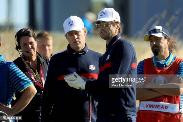 Luke Wilson of Team USA and Greg Kinnear of Team USA in discussion during the celebrity challenge match ahead of the 2018 Ryder Cup at Le Golf...
