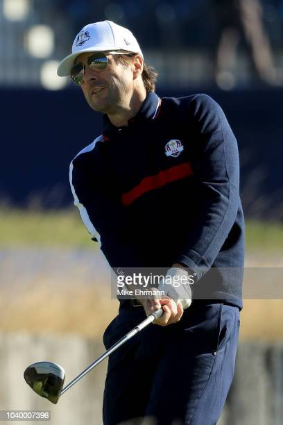Luke Wilson of Team USA plays a shot during the celebrity challenge match ahead of the 2018 Ryder Cup at Le Golf National on September 25 2018 in...