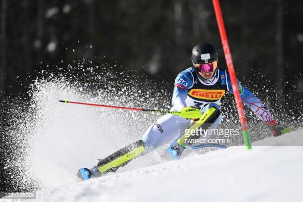 Luke Winters of the US competes in the first run of the Men's Slalom on February 21, 2021 at the FIS Alpine World Ski Championships in Cortina...