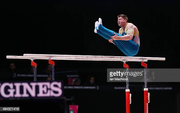 Luke Wiwatowski of Australia competes on the Parallel bars during day four of World Artistic Gymnastics Championships at The SSE Hydro on October 26...