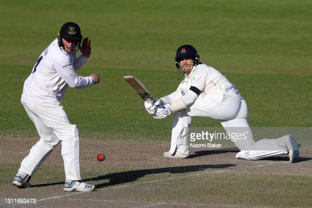 Luke Wood of Lancashire bats during the LV= Insurance County Championship match between Sussex and Lancashire at Emirates Old Trafford on April 09,...