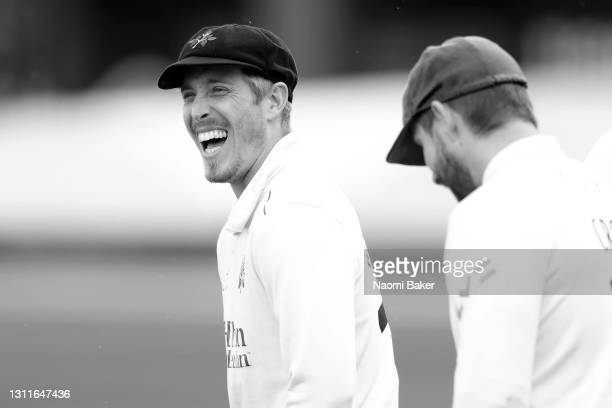 Luke Wood of Lancashire looks on during the LV= Insurance County Championship match between Sussex and Lancashire at Emirates Old Trafford on April...