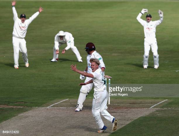 Luke Wood of Nottinghamshire celebrates after trapping Richard Levi LBW during the Specsavers County Championship Division Two match between...