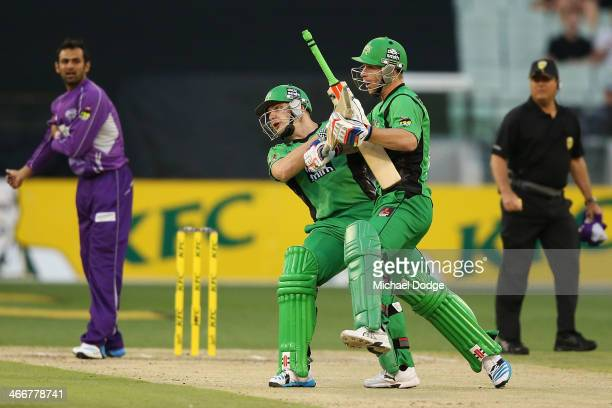Luke Wright and Matthew Wade of the Stars collide while running together on the pitch during the Big Bash League Semi Final match between the...