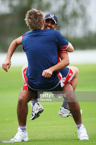 Luke Wright and Ravi Bopara of England during a nets session at the Lincoln University performance center on January 29, 2008 in Christchurch, New...