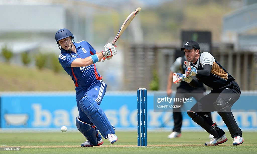 Luke Wright of England bats during a T20 Practice Match between New Zealand XI and England at Cobham Oval on February 5, 2013 in Whangarei, New Zealand.