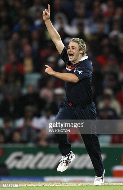 Luke Wright of England celebrates taking the wicket of Shoaib Malik of Pakistan during their ICC World Twenty20 Cup match at the Oval cricket ground...