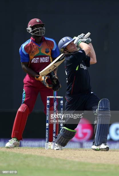 Luke Wright of England hits a six during the ICC T20 World Cup Group D match between West Indies and England at the Guyana National Stadium Cricket...
