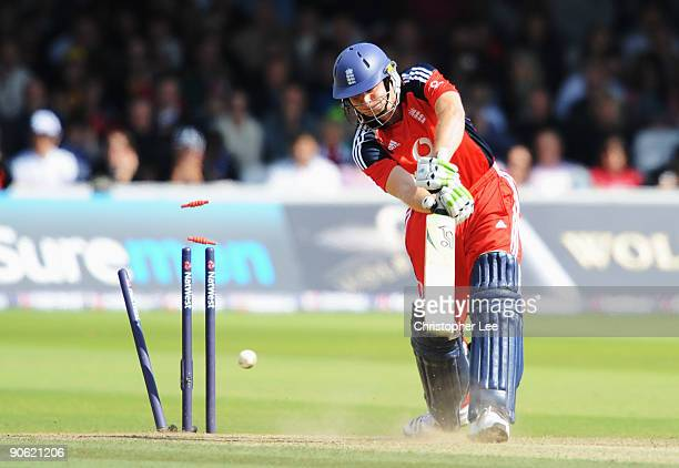 Luke Wright of England is bowled by Brett Lee of Australia during the 4th NatWest One Day International between England and Australia at Lord's on...