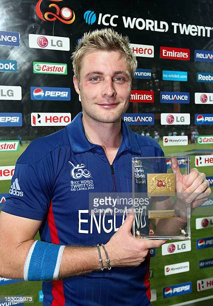 Luke Wright of England Man of the Match in the A1 versus B2 ICC World T20 Super Eight match between England and New Zealand at Pallekele Cricket...