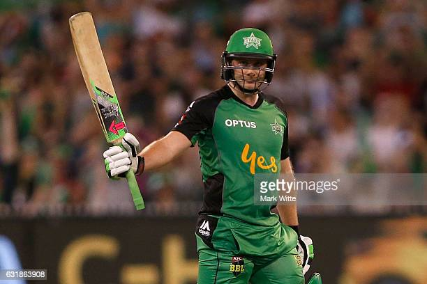 Luke Wright of Melbourne Stars celebrates his fifty during the Big Bash League match between the Melbourne Stars and the Brisbane Heat at Melbourne...