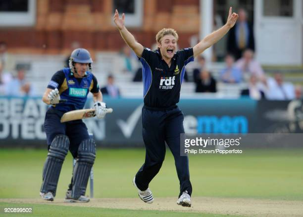 Luke Wright of Sussex appeals successfully for the wicket of Hampshire batsman Jimmy Adams during the Friends Provident Trophy Final between...