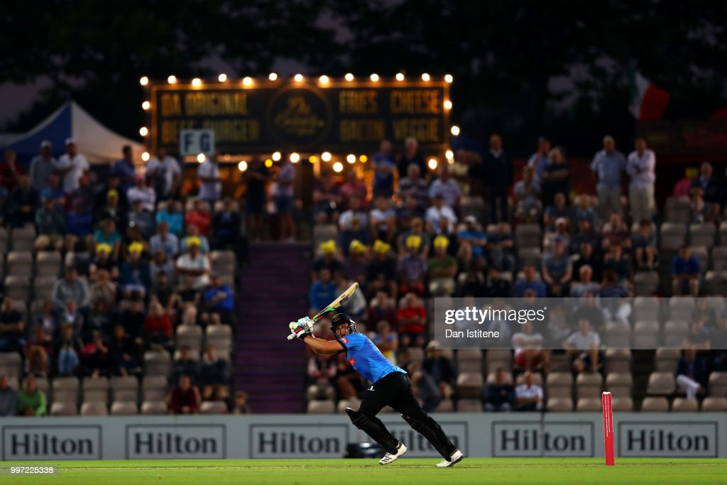 Luke Wright of Sussex bats during the Vitality Blast match between Hampshire and Sussex Sharks at The Ageas Bowl on July 12, 2018 in Southampton, England.
