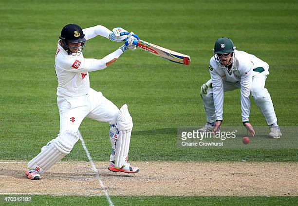 Luke Wright of Sussex hits out during day one of the LV County Championship match between Sussex and Worcestershire at The BrightonandHoveJobs.com...
