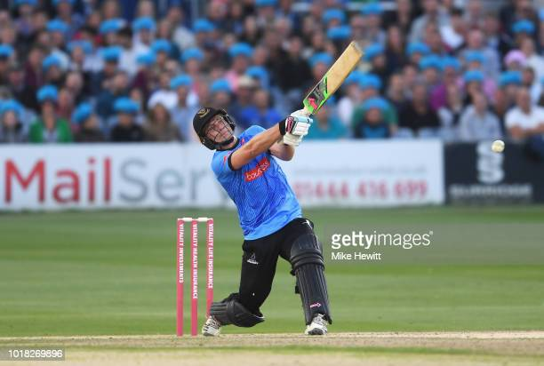 Luke Wright of Sussex hits out during the Vitality Blast match between Sussex Sharks and Middlesex at The 1st Central County Ground on August 17 2018...