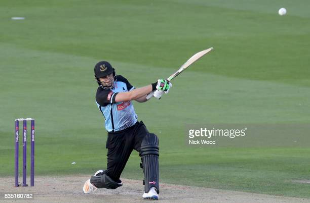 Luke Wright of Sussex hits the ball straight for six runs during the Sussex v Essex NatWest T20 Blast cricket match at the 1st Central County Ground...