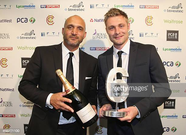 Luke Wright of Sussex receives the Sky Sports Sixes Award award from Mark Butcher during the PCA Awards dinner at The Old Billingsgate on October 1,...