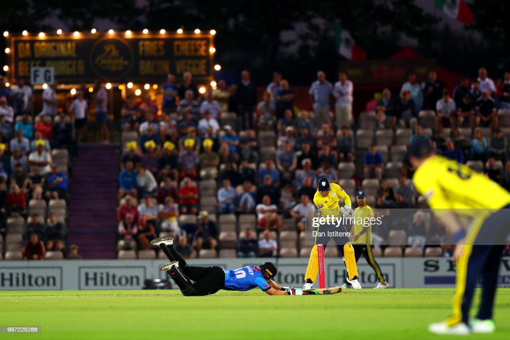 Luke Wright of Sussex slides in to the crease during the Vitality Blast match between Hampshire and Sussex Sharks at The Ageas Bowl on July 12, 2018 in Southampton, England.
