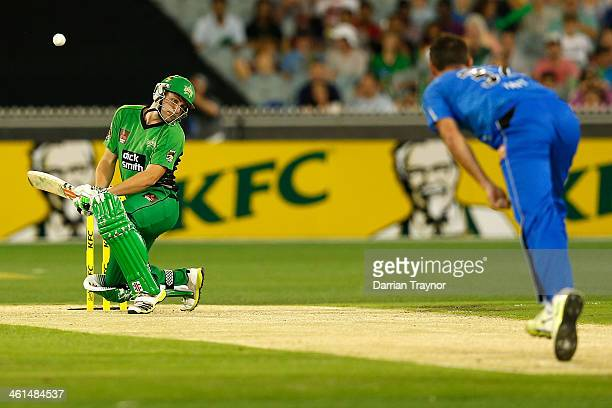 Luke Wright of the Stars evades Shaun Tait of the Strikers bouncer during the Big Bash League match between the Melbourne Stars and the Adelaide...
