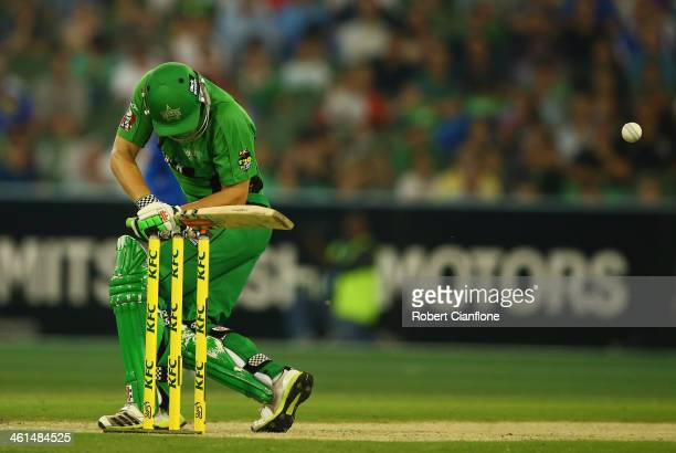 Luke Wright of the Stars is struck by a rising delivery from Shaun Tait of the Strikers during the Big Bash League match between the Melbourne Stars...