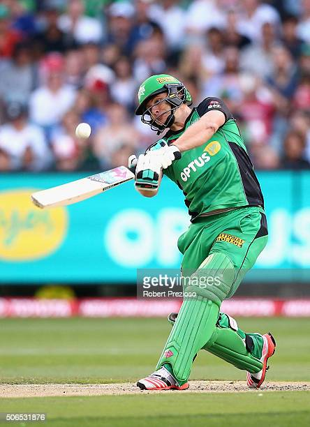 Luke Wright of the Stars plays a shot during the Big Bash League final match between Melbourne Stars and the Sydney Thunder at Melbourne Cricket...