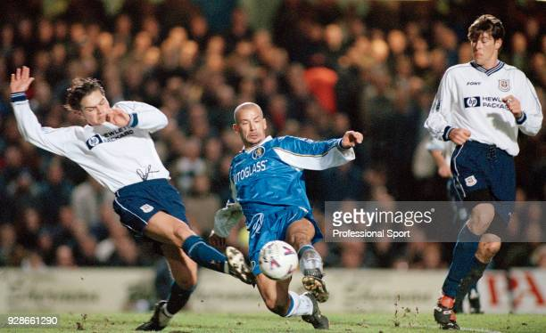 Luke Young of Tottenham Hotspur challenge Gianluca Vialli of Chelsea during an FA Carling Premiership match at Stamford Bridge on December 19 1998 in...