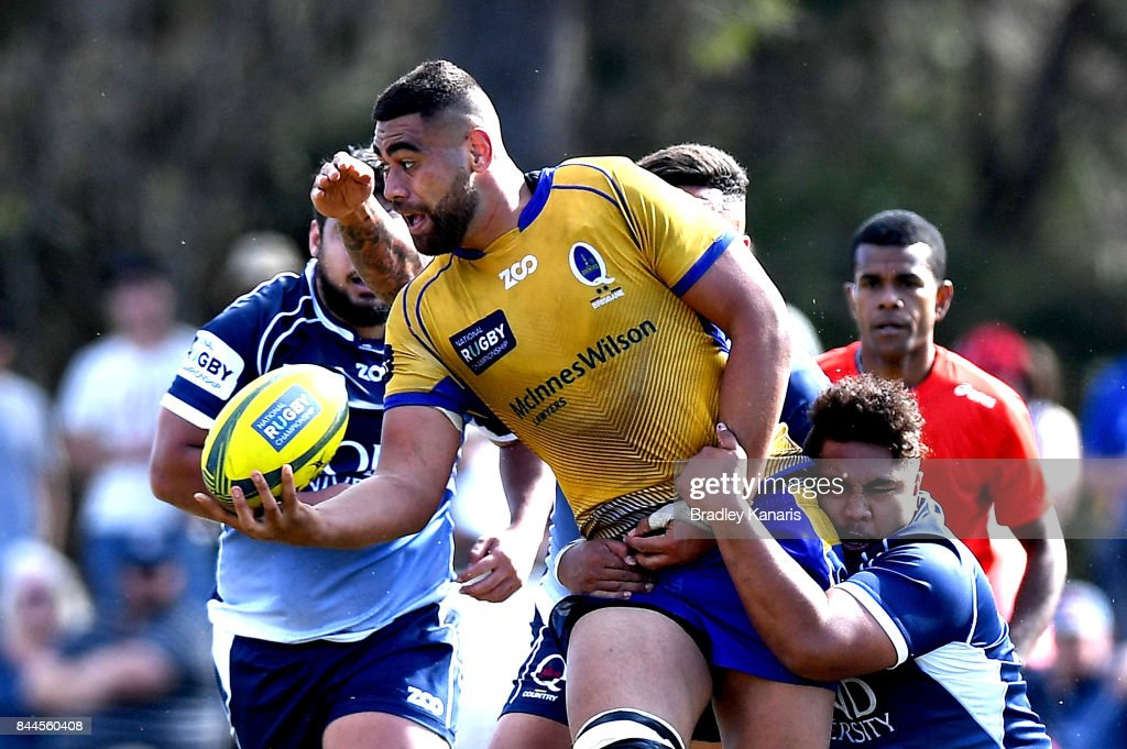 Lukhan Lealaiauloto-Tui of Brisbane City offloads during the round two NRC match between Queensland Country and Brisbane on September 9, 2017 in Noosa, Australia.