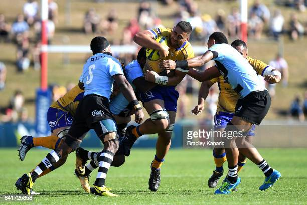 Lukhan LealaiaulotoTui of Brisbane City takes on the defence during the round one NRC match between Brisbane and Fiji at Ballymore Stadium on...