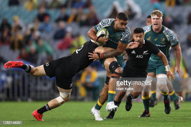 Lukhan Salakaia-Loto of the Wallabies is tackled during the 2020 Tri-Nations and Bledisloe Cup match between the Australian Wallabies and the New...